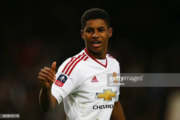 Marcus Rashford of Manchester United celebrates scoring the opening goal during The Emirates FA Cup sixth round replay between West Ham United and...