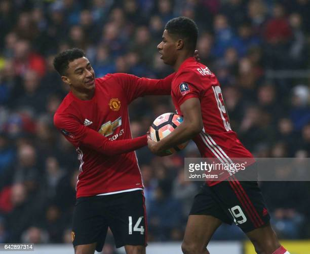 Marcus Rashford of Manchester United celebrates scoring their first goal during the Emirates FA Cup Fifth Round match between Blackburn Rovers and...