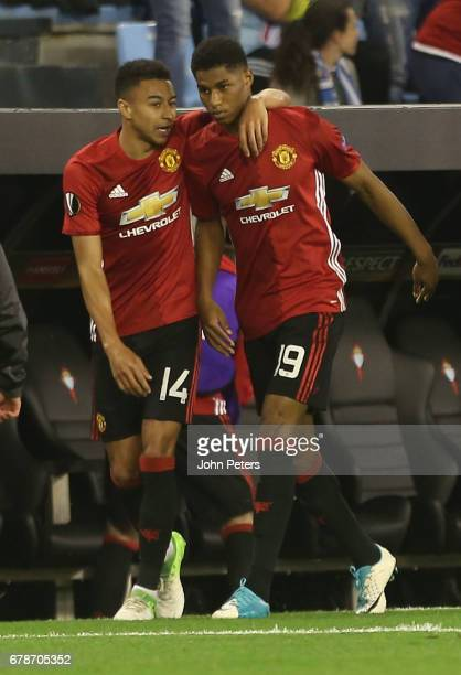 Marcus Rashford of Manchester United celebrates scoring their first goal during the UEFA Europa League semifinal first leg match between Celta Vigo...