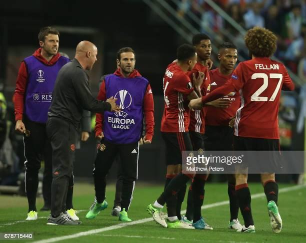 Marcus Rashford of Manchester United celebrates scoring their first goal during the UEFA Europa League semifinal first leg match between Celta Vigo...