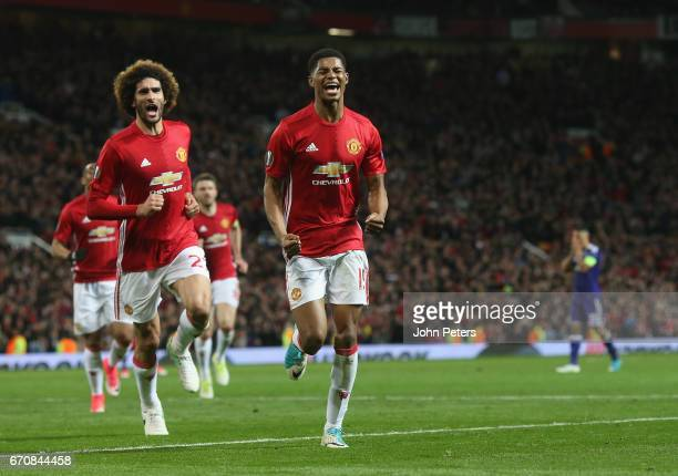 Marcus Rashford of Manchester United celebrates scoring their second goal during the UEFA Europa League quarter final second leg match between...