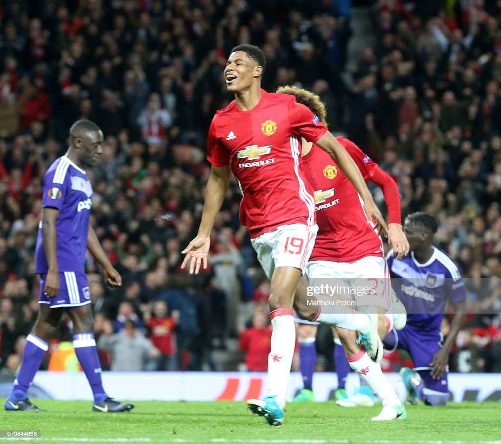 Marcus Rashford of Manchester United celebrates scoring their second goal during the UEFA Europa League quarter final second leg match between Manchester United and RSC Anderlecht at Old Trafford on April 20, 2017 in Manchester, United Kingdom.