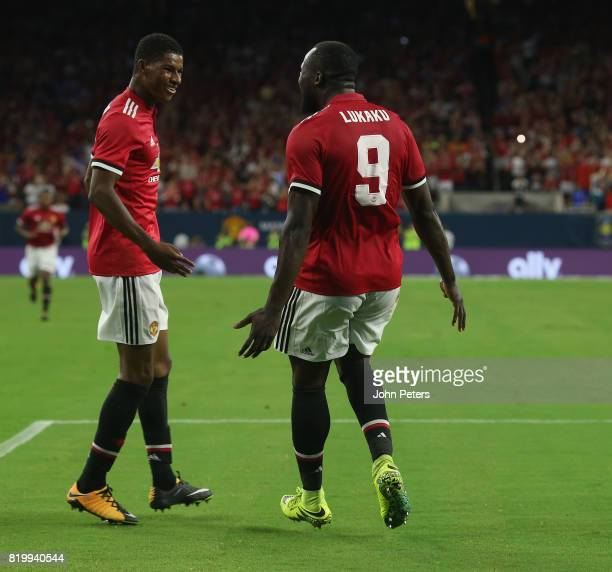 Marcus Rashford of Manchester United celebrates scoring their second goal during the preseason friendly International Champions Cup 2017 match...