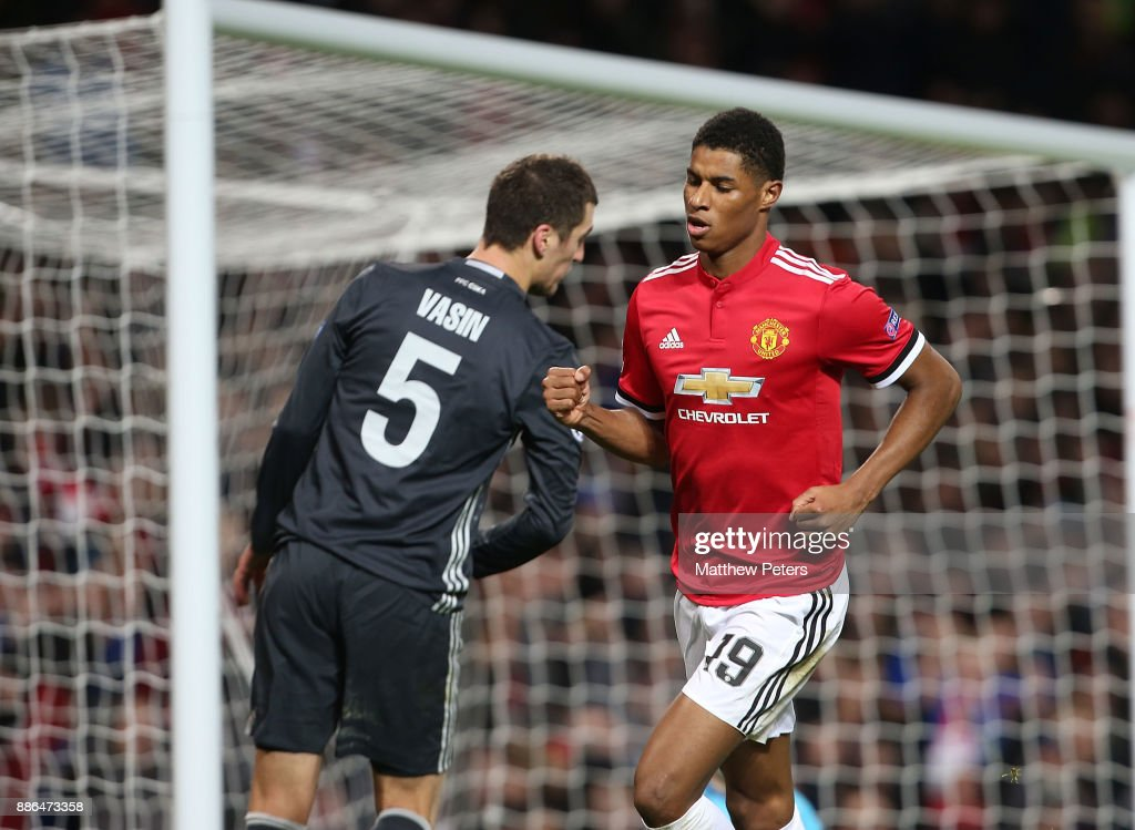 Marcus Rashford of Manchester United celebrates scoring their second goal during the UEFA Champions League group A match between Manchester United and CSKA Moskva at Old Trafford on December 5, 2017 in Manchester, United Kingdom.