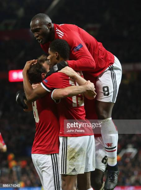 Marcus Rashford of Manchester United celebrates scoring their second goal during the UEFA Champions League group A match between Manchester United...