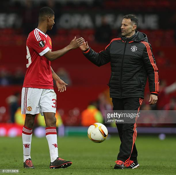 Marcus Rashford of Manchester United celebrates with Assistant Manager Ryan Giggs after the UEFA Europa League match between Manchester United and FC...