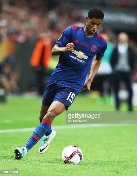 Marcus Rashford of Manchester United controls the ball during the UEFA Europa League Final match between Ajax and Manchester United at Friends Arena...