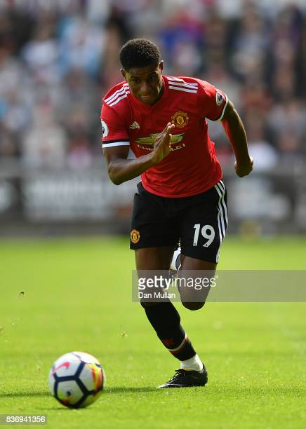 Marcus Rashford of Manchester United controls the ball during the Premier League match between Swansea City and Manchester United at Liberty Stadium...