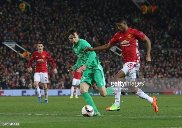 Marcus Rashford of Manchester United crosses the ball for Zlatan Ibrahimovic to score their second goal during the UEFA Europa League Round of 32...