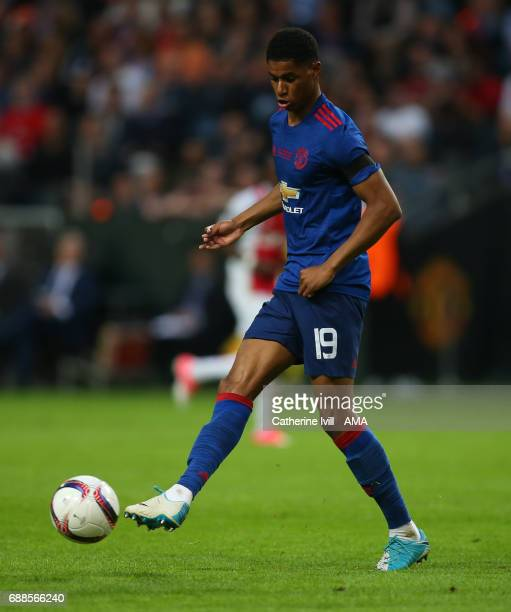 Marcus Rashford of Manchester United during the UEFA Europa League Final match between Ajax and Manchester United at Friends Arena on May 24 2017 in...