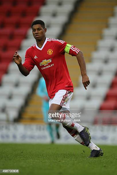 Marcus Rashford of Manchester United during the UEFA Youth League match between Manchester United FC and PSV Eindhoven on November 25 2015 in...