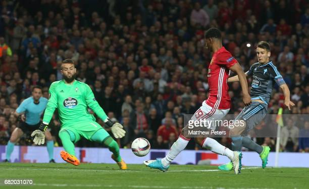 Marcus Rashford of Manchester United has a shot on goal during the UEFA Europa League semi final second leg match between Manchester United and Celta...
