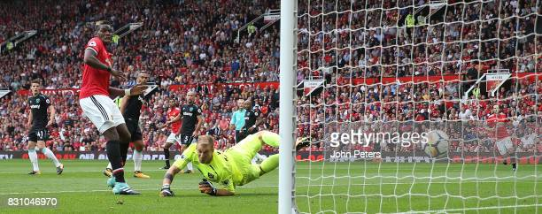 Marcus Rashford of Manchester United has a shot rebound off the post during the Premier League match between Manchester United and West Ham United at...