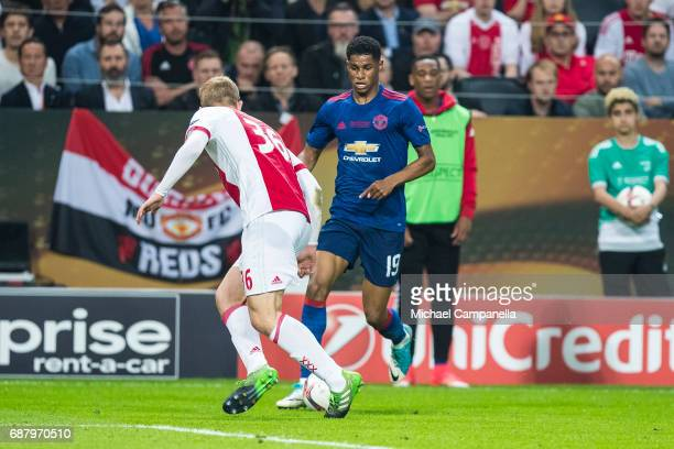 Marcus Rashford of Manchester United in a duel with Matthijs de Ligt of Ajax during the UEFA Europa League final between Ajax and Manchester United...
