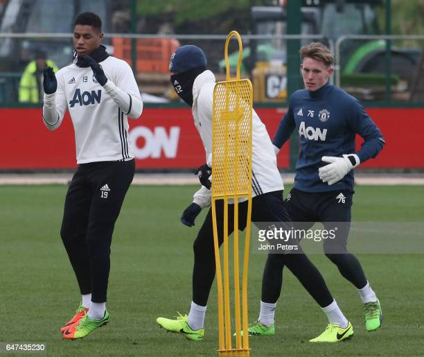 Marcus Rashford of Manchester United in action during a first team training session at Aon Training Complex on March 3 2017 in Manchester England