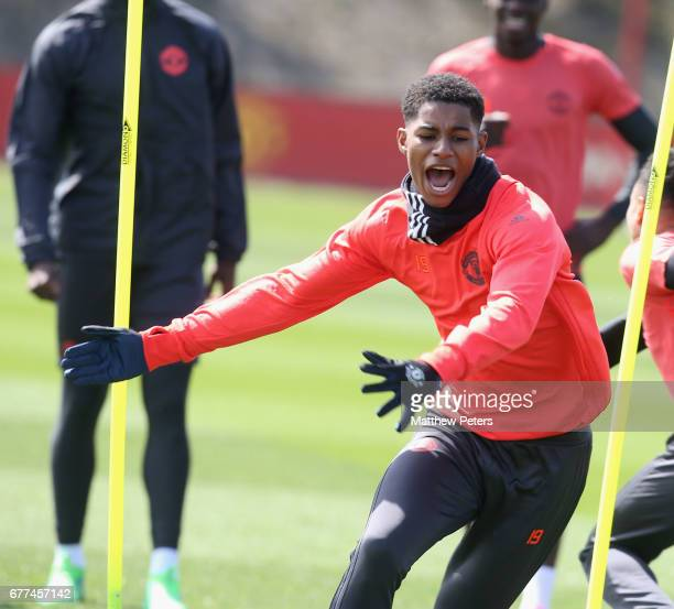 Marcus Rashford of Manchester United in action during a first team training session at Aon Training Complex on May 3 2017 in Manchester England