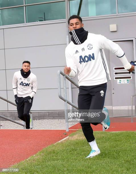 Marcus Rashford of Manchester United in action during a first team training session at Aon Training Complex on May 19 2017 in Manchester England