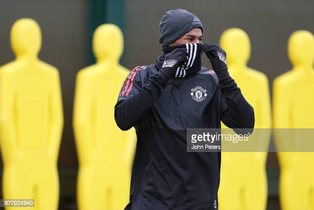 Marcus Rashford of Manchester United in action during a first team training session at Aon Training Complex on November 21 2017 in Manchester England