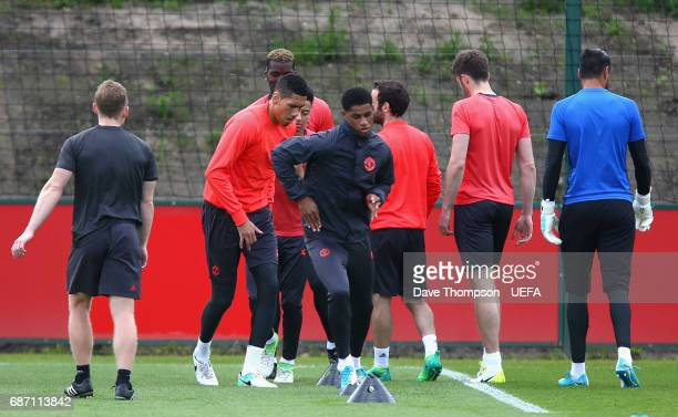 Marcus Rashford of Manchester United in action during a Manchester United training session ahead of the UEFA Europa League Final against Ajax at the...