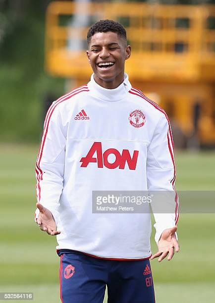 Marcus Rashford of Manchester United in action during a training session ahead of the FA Cup Final match between Crystal Palace and Manchester United...