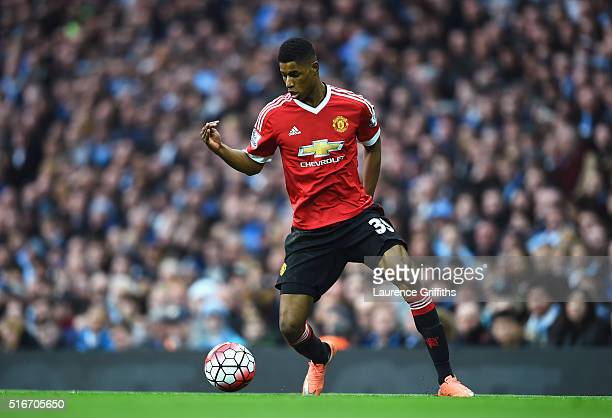 Marcus Rashford of Manchester United in action during the Barclays Premier League match between Manchester City and Manchester United at Etihad...