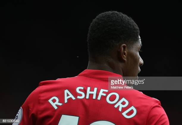 Marcus Rashford of Manchester United in action during the Premier League match between Manchester United and West Ham United at Old Trafford on...