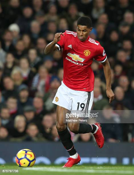 Marcus Rashford of Manchester United in action during the Premier League match between Manchester United and Newcastle United at Old Trafford on...