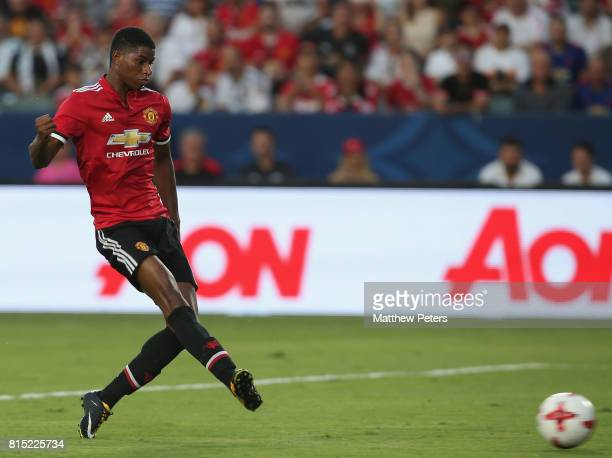 Marcus Rashford of Manchester United in action during the preseason friendly match between LA Galaxy and Manchester United at StubHub Center on July...