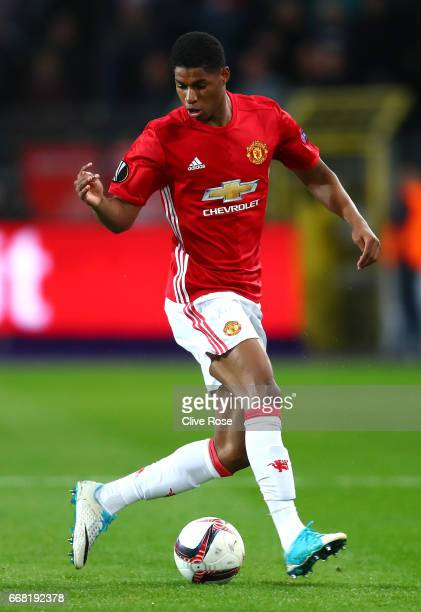 Marcus Rashford of Manchester United in action during the UEFA Europa League quarter final first leg match between RSC Anderlecht and Manchester...