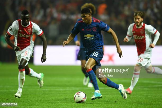 Marcus Rashford of Manchester United in action during the UEFA Europa League final match between Ajax and Manchester United at Friends Arena on May...