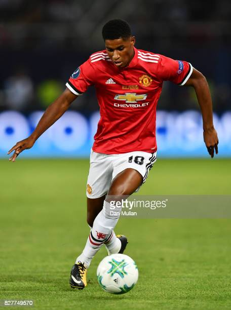 Marcus Rashford of Manchester United in action during the UEFA Super Cup final between Real Madrid and Manchester United at the Philip II Arena on...