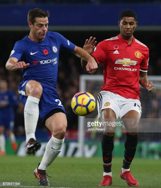 Marcus Rashford of Manchester United in action with Cesar Azpilicueta of Chelsea during the Premier League match between Chelsea and Manchester...