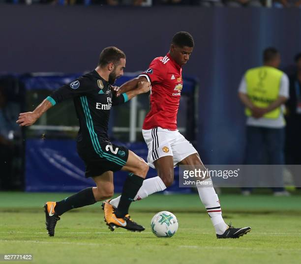 Marcus Rashford of Manchester United in action with Dani Carvajal of Real Madrid during the UEFA Super Cup match between Real Madrid and Manchester...