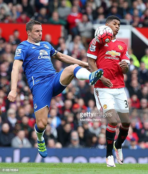 Marcus Rashford of Manchester United in action with during Phil Jagielka of Everton during the Barclays Premier League match between Manchester...