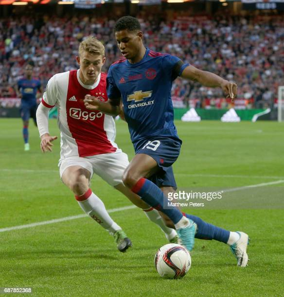 Marcus Rashford of Manchester United in action with Matthijs de Ligt of Ajax during the UEFA Europa League Final match between Manchester United and...