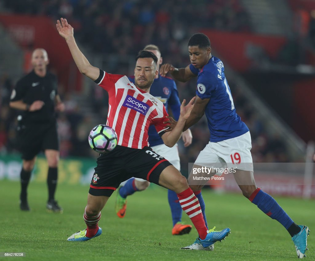 Marcus Rashford of Manchester United in action with Maya Yoshida of Southampton during the Premier League match between Southampton and Manchester United at St Mary's Stadium on May 17, 2017 in Southampton, England.