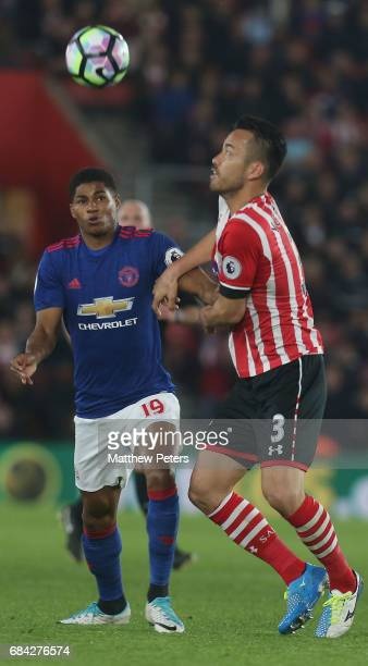 Marcus Rashford of Manchester United in action with Maya Yoshida of Southampton during the Premier League match between Southampton and Manchester...