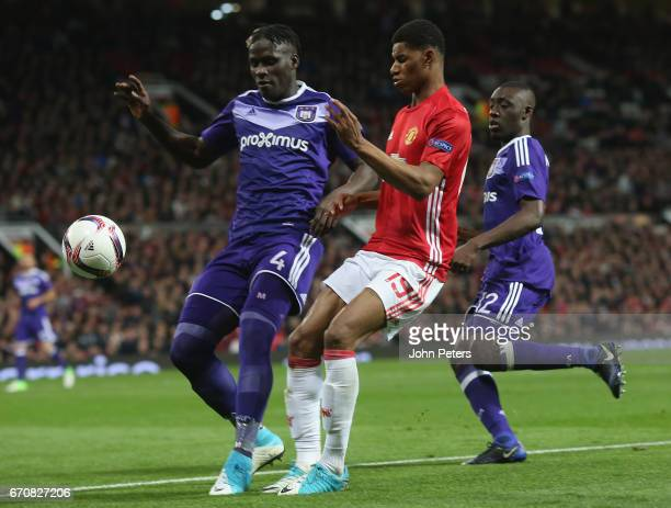 Marcus Rashford of Manchester United in action with Mbodji Kara of RSC Anderlecht during the UEFA Europa League quarter final second leg match...