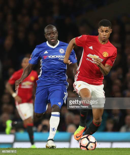 Marcus Rashford of Manchester United in action with Ngolo Kante of Chelsea during the Emirates FA Cup QuarterFinal match between Chelsea and...