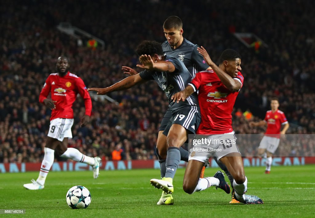 Marcus Rashford of Manchester United is fouled leading to a penalty during the UEFA Champions League group A match between Manchester United and SL Benfica at Old Trafford on October 31, 2017 in Manchester, United Kingdom.