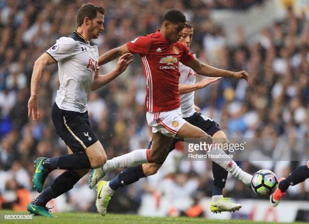 Marcus Rashford of Manchester United is put under pressure from Jan Vertonghen of Tottenham Hotspur during the Premier League match between Tottenham...