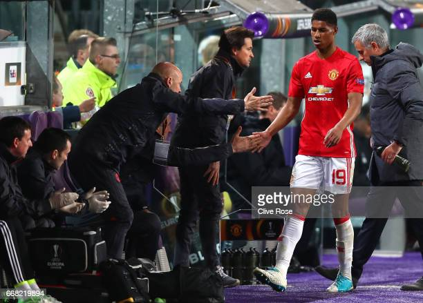 Marcus Rashford of Manchester United is subtituted during the UEFA Europa League quarter final first leg match between RSC Anderlecht and Manchester...