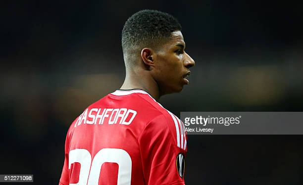 Marcus Rashford of Manchester United looks on during the UEFA Europa League Round of 32 second leg match between Manchester United and FC Midtjylland...