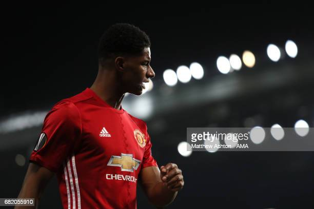 Marcus Rashford of Manchester United looks on during the UEFA Europa League semi final second leg match between Manchester United and Celta Vigo at...
