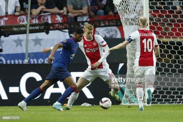 Marcus Rashford of Manchester United Matthijs de Ligt of Ajax Davy Klaassen of Ajaxduring the UEFA Europa League final match between Ajax Amsterdam...