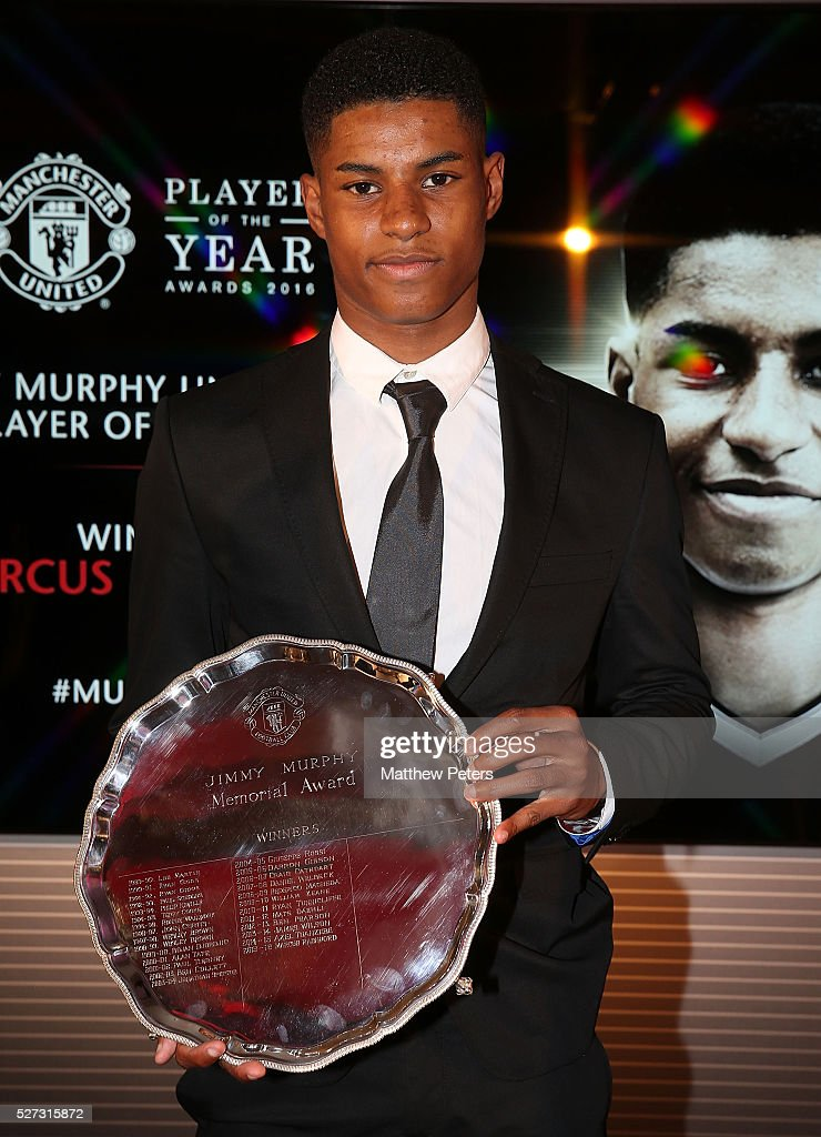 <a gi-track='captionPersonalityLinkClicked' href=/galleries/search?phrase=Marcus+Rashford&family=editorial&specificpeople=13847707 ng-click='$event.stopPropagation()'>Marcus Rashford</a> of Manchester United poses with the Jimmy Murphy Young Player of the Year award at the club's annual Player of the Year awards at Old Trafford on May 2, 2016 in Manchester, England.