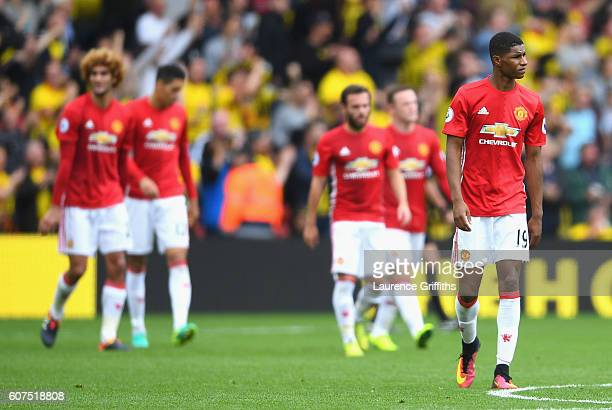 Marcus Rashford of Manchester United reacts after the final whistle during the Premier League match between Watford and Manchester United at Vicarage...