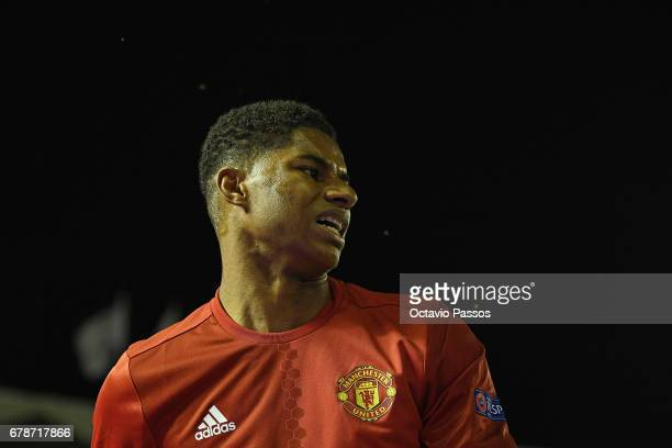 Marcus Rashford of Manchester United reacts during the UEFA Europa League semi final first leg match between Celta Vigo and Manchester United at...