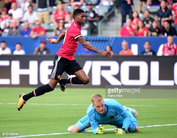 Marcus Rashford of Manchester United reacts to his goal on Jon Kempin of Los Angeles Galaxy during the first half at StubHub Center on July 15 2017...