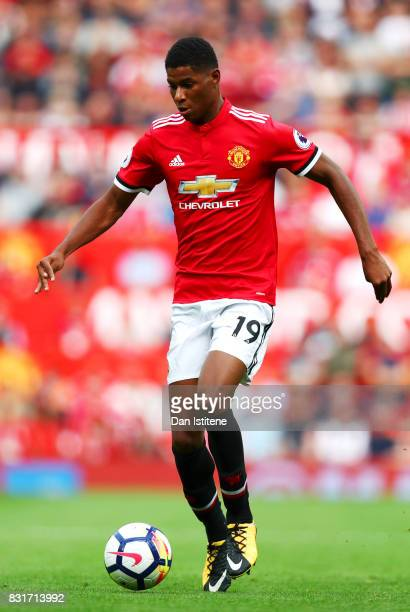 Marcus Rashford of Manchester United runs with the ball during the Premier League match between Manchester United and West Ham United at Old Trafford...